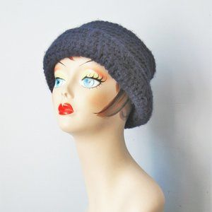 Vintage Cap Warm Navy and White hand knit cap